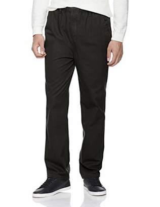 Trimthread Men's Comfort Elastic Waist Straight Fit Flat-Front Casual Chino Slack Pant (