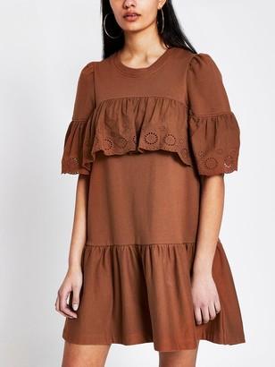 River Island Broderie Frill Jersey Sweater Dress - Rust