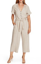 Vince Camuto Natural Stripe Crop Linen Blend Jumpsuit