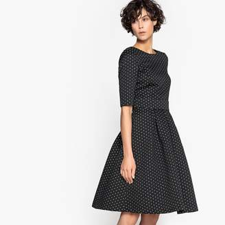 La Redoute Collections Polka Dot Jacquard Dress with Full Skirt and Scooped Back