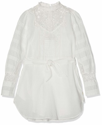 Scotch & Soda RBelle Girl's Special Shirt Dress with Lace Patch (White 00) 140 (Size: 10)