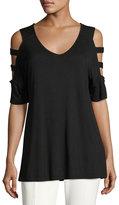 Neiman Marcus Half-Sleeve Cold-Shoulder Jersey Top, Black