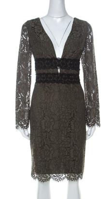 Diane von Furstenberg Olive Green V-Neck Viera Lace Dress L