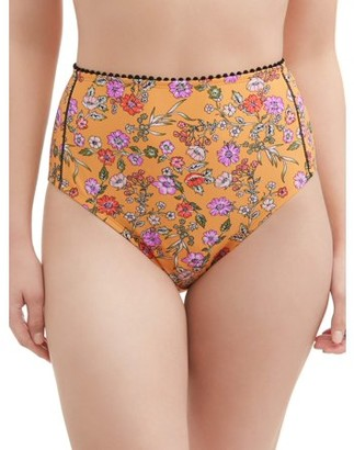 Time and Tru Women's Sunday Floral High Waist Swimsuit Bottom