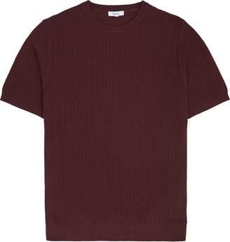 Reiss Casper - Textured Knitted T-shirt in Bordeaux