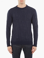 S.n.s. Herning Navy Textured Knit Sweater