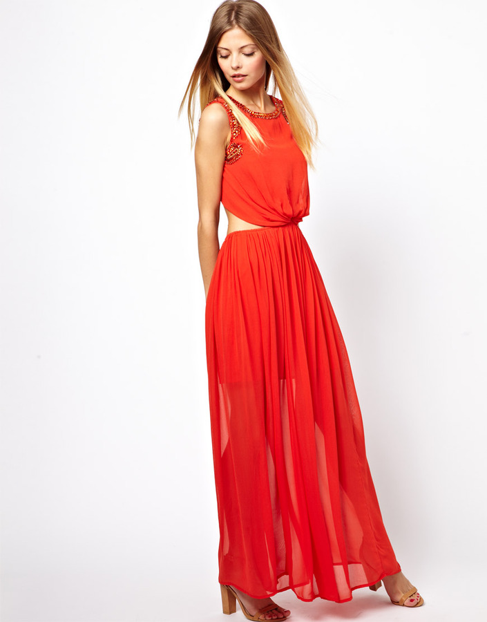 Asos Exclusive Maxi Dress With Embellished Cut Outs