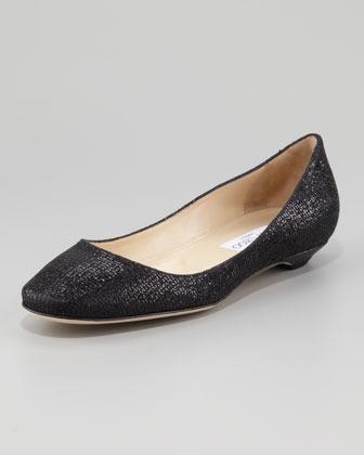 Jimmy Choo Finlay Square-Toe Glitter Flat, Black