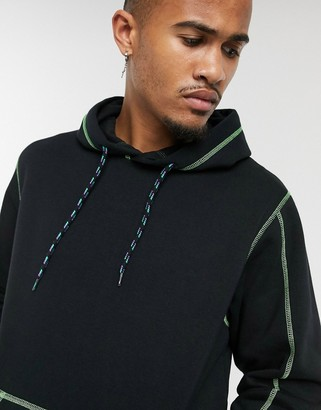 Jack and Jones Core oversized contrast stitch hoodie in black