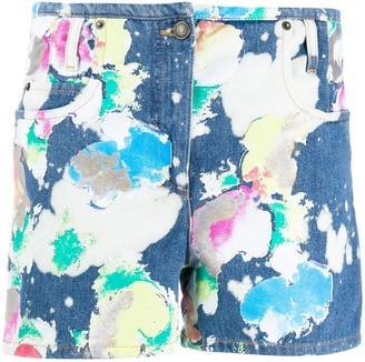 Moschino Bleach-Painted Denim Shorts