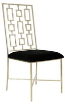 The Well Appointed House Worlds Away David Silver Leafed Dining Chair with Black Velvet Seat