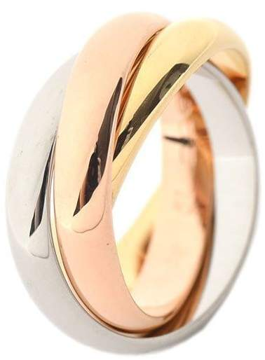 Cartier 750 White Rose Yellow Gold Trinity Ring Size 5.25