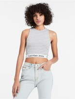 Calvin Klein Striped Cropped Tank Top