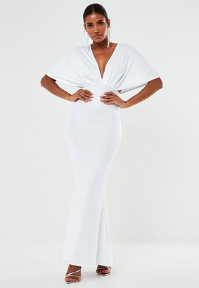 Missguided White Bandage Kimono Sleeve Maxi Wedding Dress