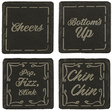 Just Slate Etched Drink Coasters, Set of 4, Black