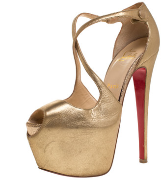 Christian Louboutin Gold Leather Exagona Cross Strap Platform Sandals Size 35