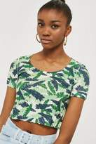 Topshop Tropical Print Knitted Top