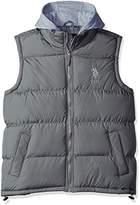 U.S. Polo Assn. Men's Basic Puffer Vest With Fleece Hood
