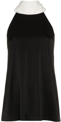 Galvan sash neck sleeveless blouse