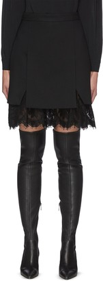 Alexander McQueen Lace Trim Hem Wool Blend Mini Skirt
