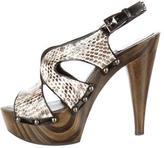 Christian Dior Snakeskin Slingback Platform Pumps
