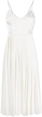 Ermanno Ermanno Silk Pleated Flared Midi Dress