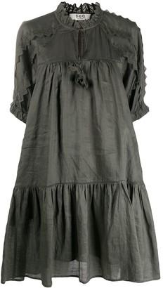 Sea Zig Zag Details Flared Dress