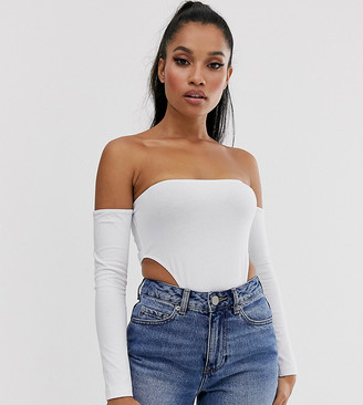 Asos DESIGN Petite off shoulder extreme bodysuit in white