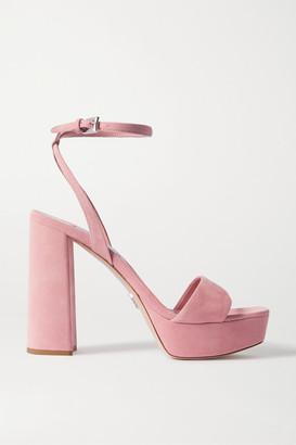 Prada 115 Suede Platform Sandals - Baby pink
