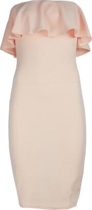Fashion Star Women Bandeau Peplum Frill Midi Dress Boobtube Back Split Bandage Bodycon Nude