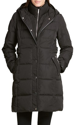 DKNY Hooded Quilted Coat