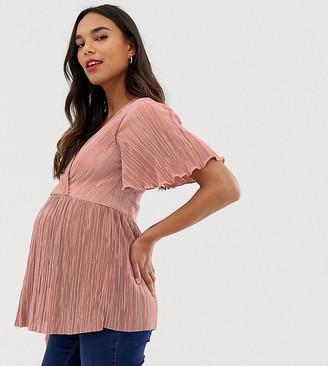 Asos Nursing DESIGN Maternity nursing plisse wrap top with flutter sleeve in dusty pink