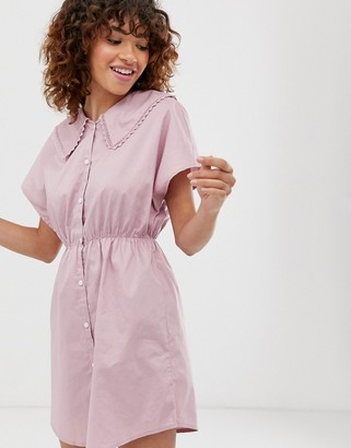 Monki mini dress with short sleeve and oversized collar in lilac