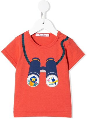 Familiar binoculars embroidered crew neck T-shirt