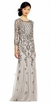 Adrianna Papell Three Quarter Sleeve Damask Beaded Evening Dress