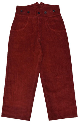 Lanefortyfive Pantaloni4 Women's Trousers With Braces - Dark Red Corduroy