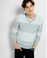Express heather gray rugby stripe v neck sweater