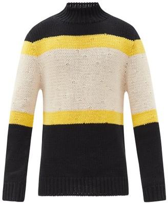 Jil Sander High-neck Striped Cotton Sweater - Blue Multi