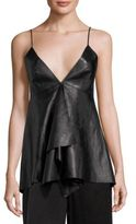 Valentino Leather Deep V-Neck Top