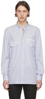 Balmain Blue and White Striped Tailored Shirt