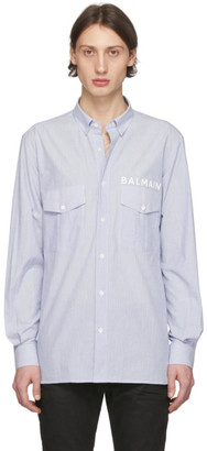 Balmain Blue and White Striped Tailored Shirt
