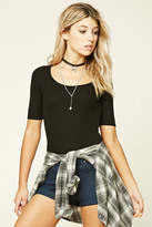 Forever 21 FOREVER 21+ Ribbed Knit Back Cutout Top