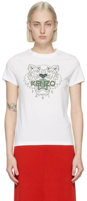 Kenzo White and Green Classic Tiger T-Shirt