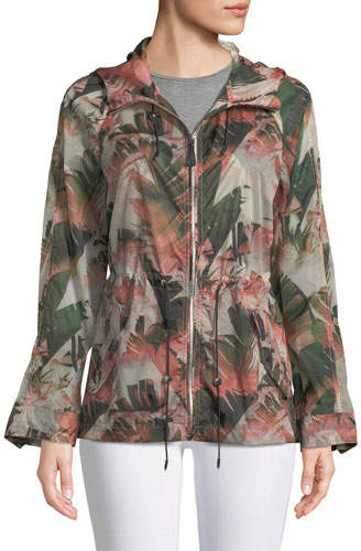 Mackage Theroa Leaf-Print Packable Rain Jacket