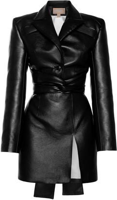 MatãRiel MATARIEL Belted Faux Leather Mini Dress