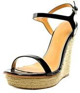 Badgley Mischka Glenna Women Open Toe Patent Leather Black Wedge Sandal.