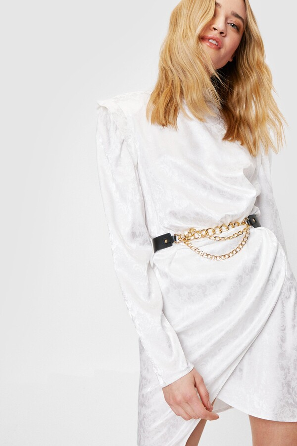 Nasty Gal Womens Chain Faux Leather Layered Belt - Black - One Size