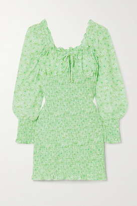 Faithfull The Brand + Net Sustain Cosima Shirred Floral-print Crepe Mini Dress - Mint