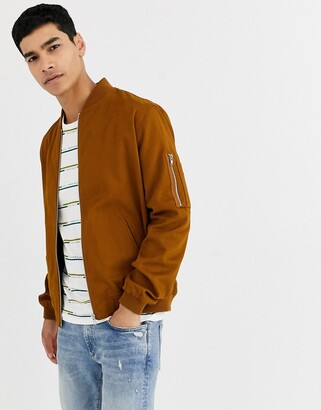 Asos DESIGN ma1 bomber jacket in tobacco