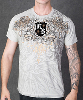 Rebel Spirit Cement & Gold 'RS' Shield Winged Lion Tee - Men's Regular